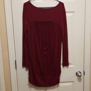 Ya Los Angeles Tops - Burgundy tunic with fringe open back